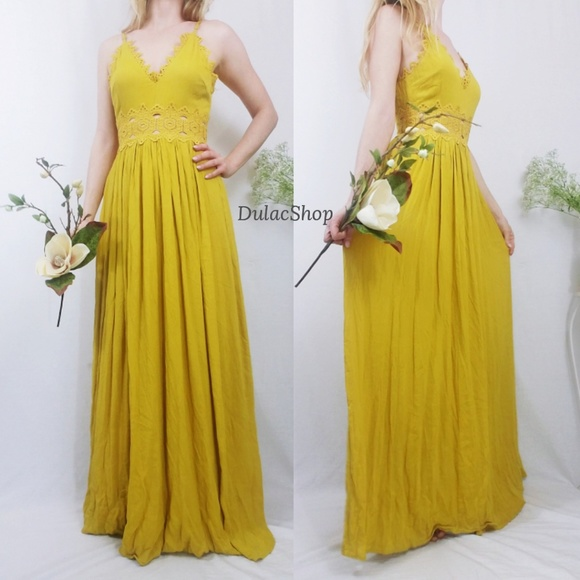 ede0216ae1f Lulu s Dresses   Skirts - This is Love Mustard Yellow Lace Maxi ...